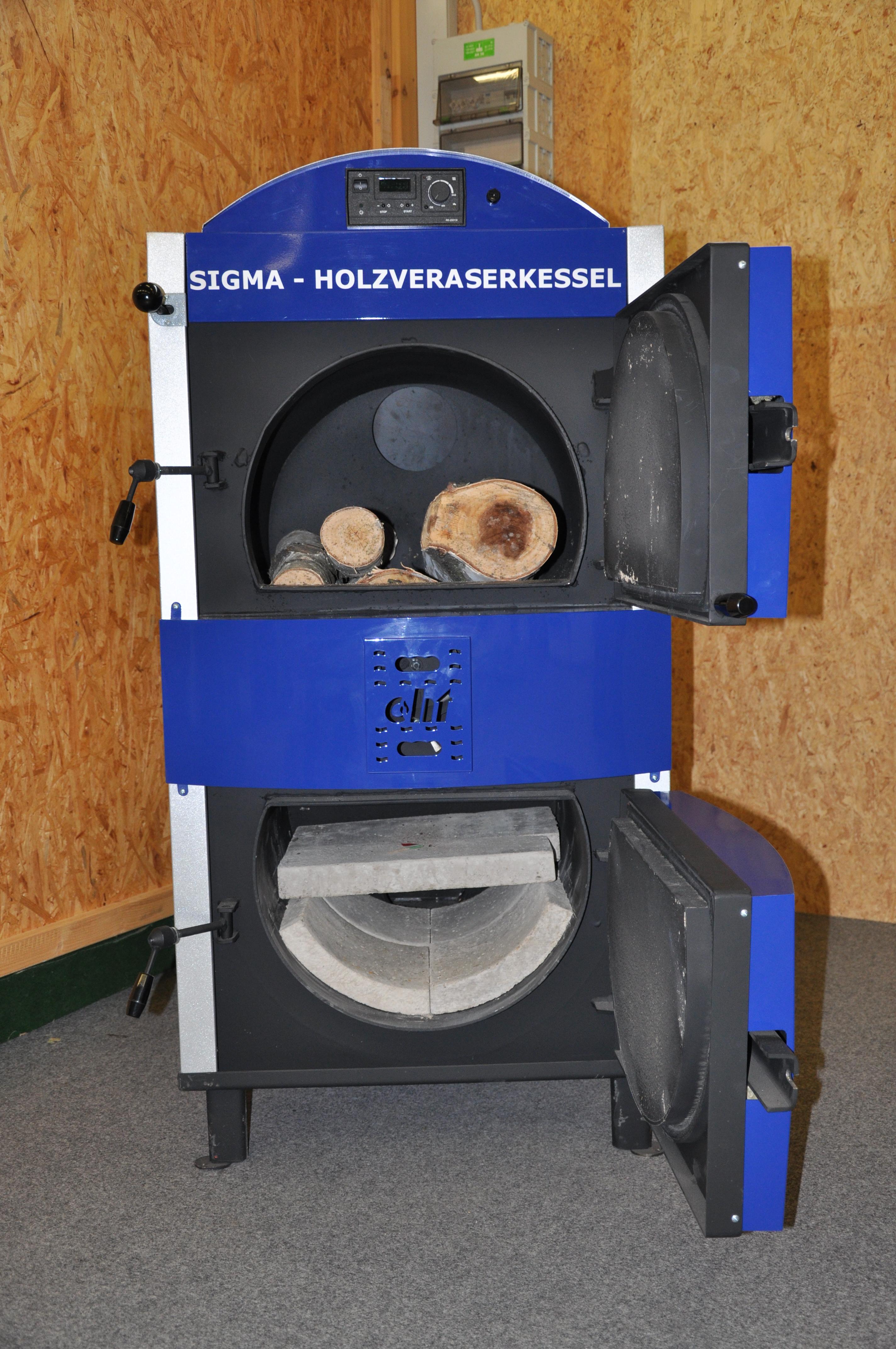 Eenvoudige houtvergassingsketel met stukhout
