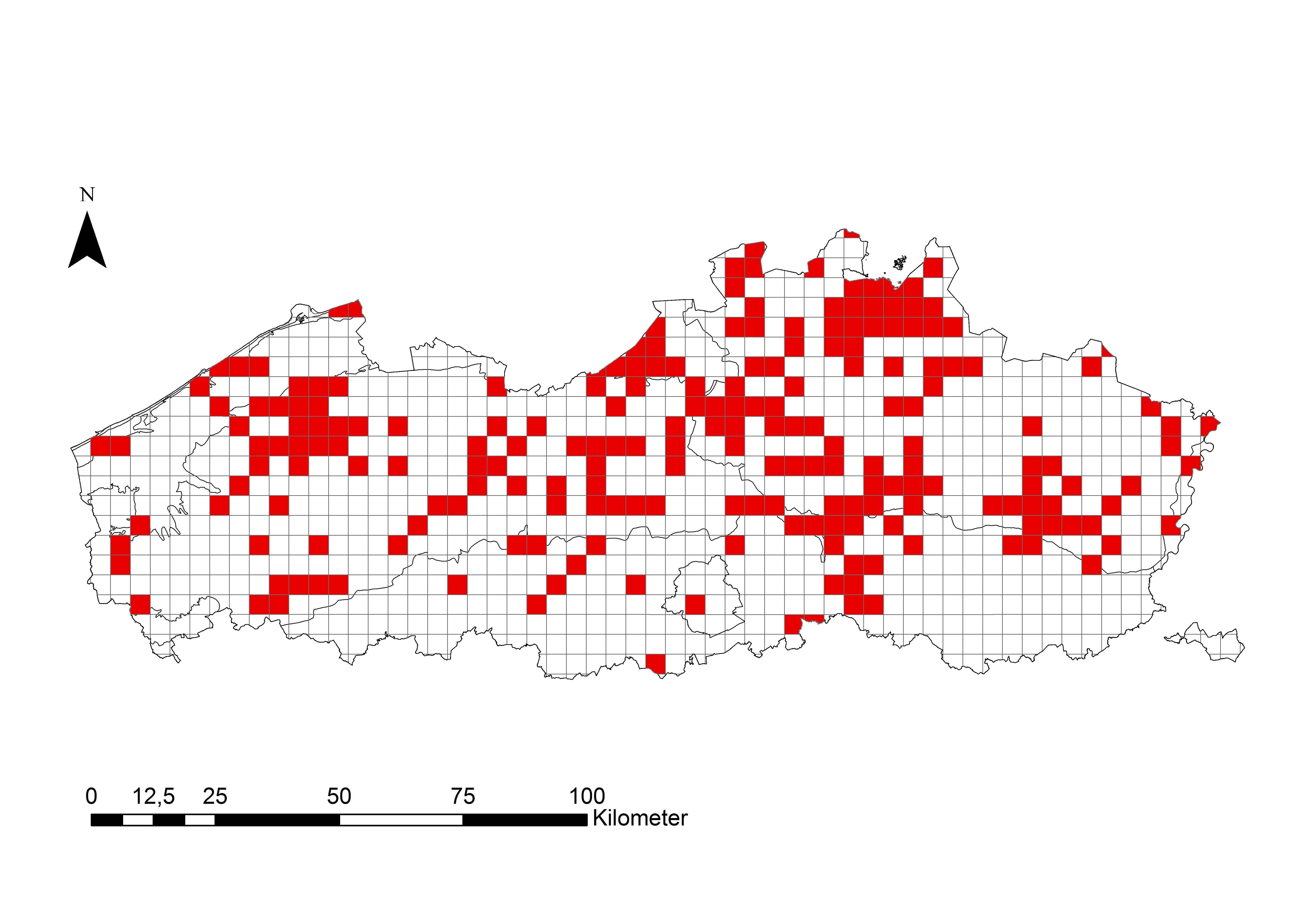 Map distribution Crassula helmsii Flanders